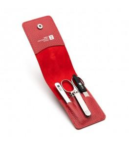 Маникюрно-педикюрный набор из четырех предметов, красный